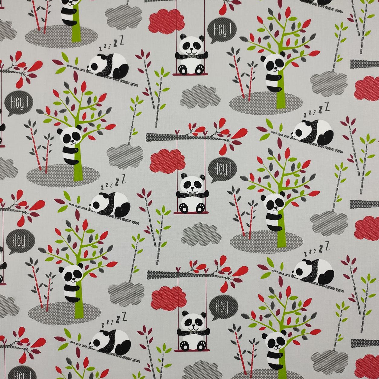 Tessuto Cotone Piccoli Panda Sfondo Grigio