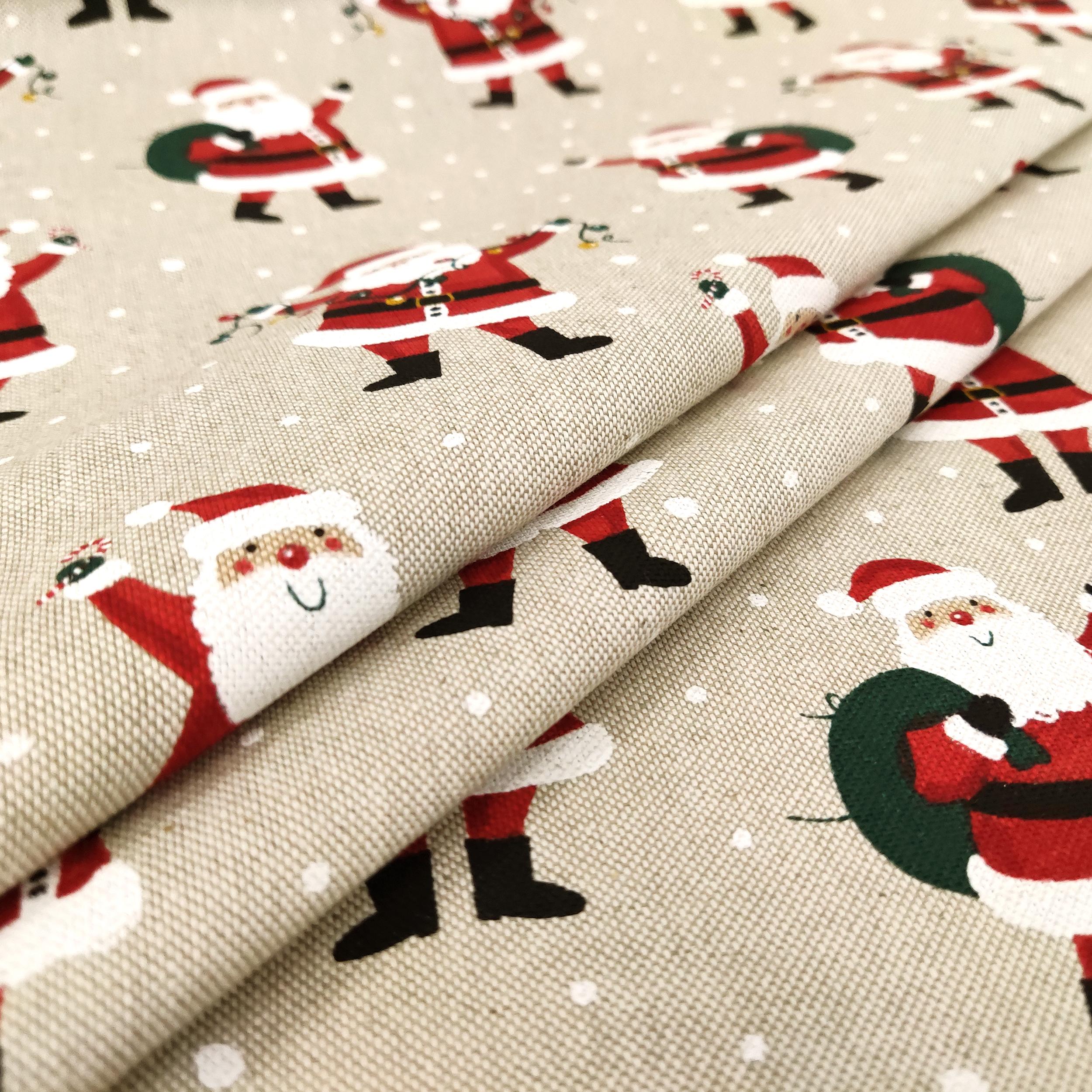 Tessuto Misto Cotone Santa Claus