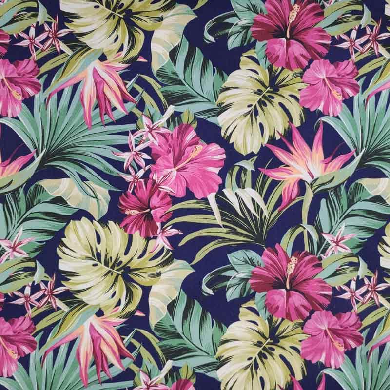 Tessuto Arredo Cotone Floreale Foresta Hawaiana