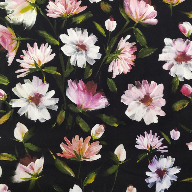 Tessuto Cotone Elasticizzato Fiori Rosa Sfondo Nero