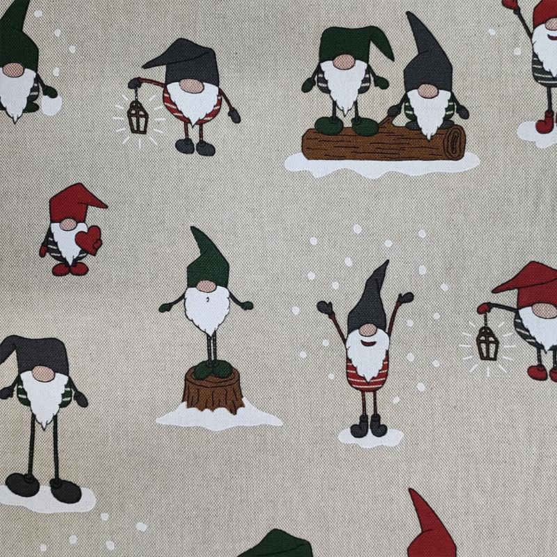 Tessuto Misto Cotone Gnomi di Natale