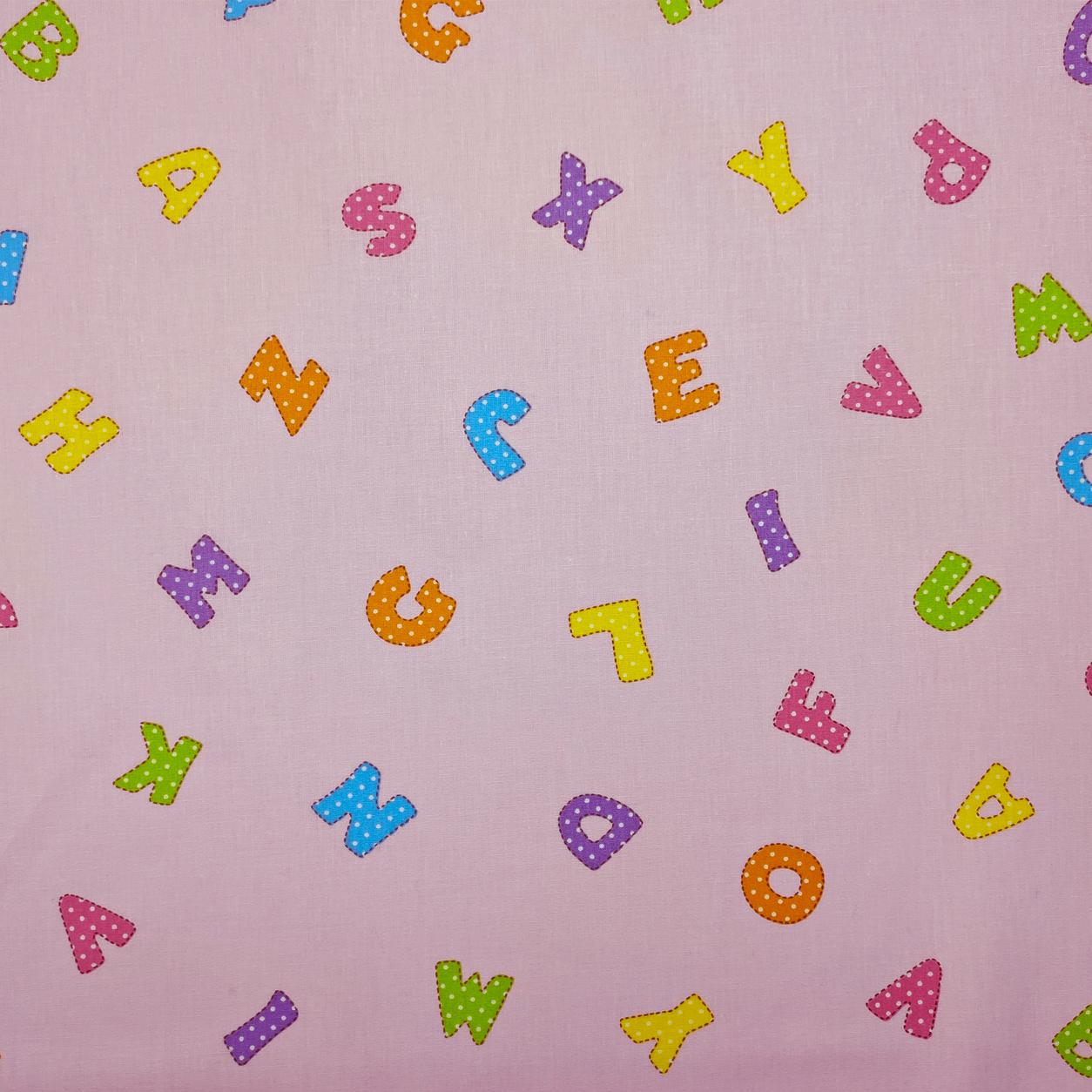 Tessuto Cotone Lettere Alfabeto Sfondo Rosa