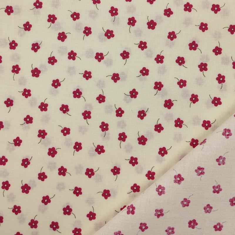 Tessuto Cotone Fiorellini Rossi Sfondo Panna