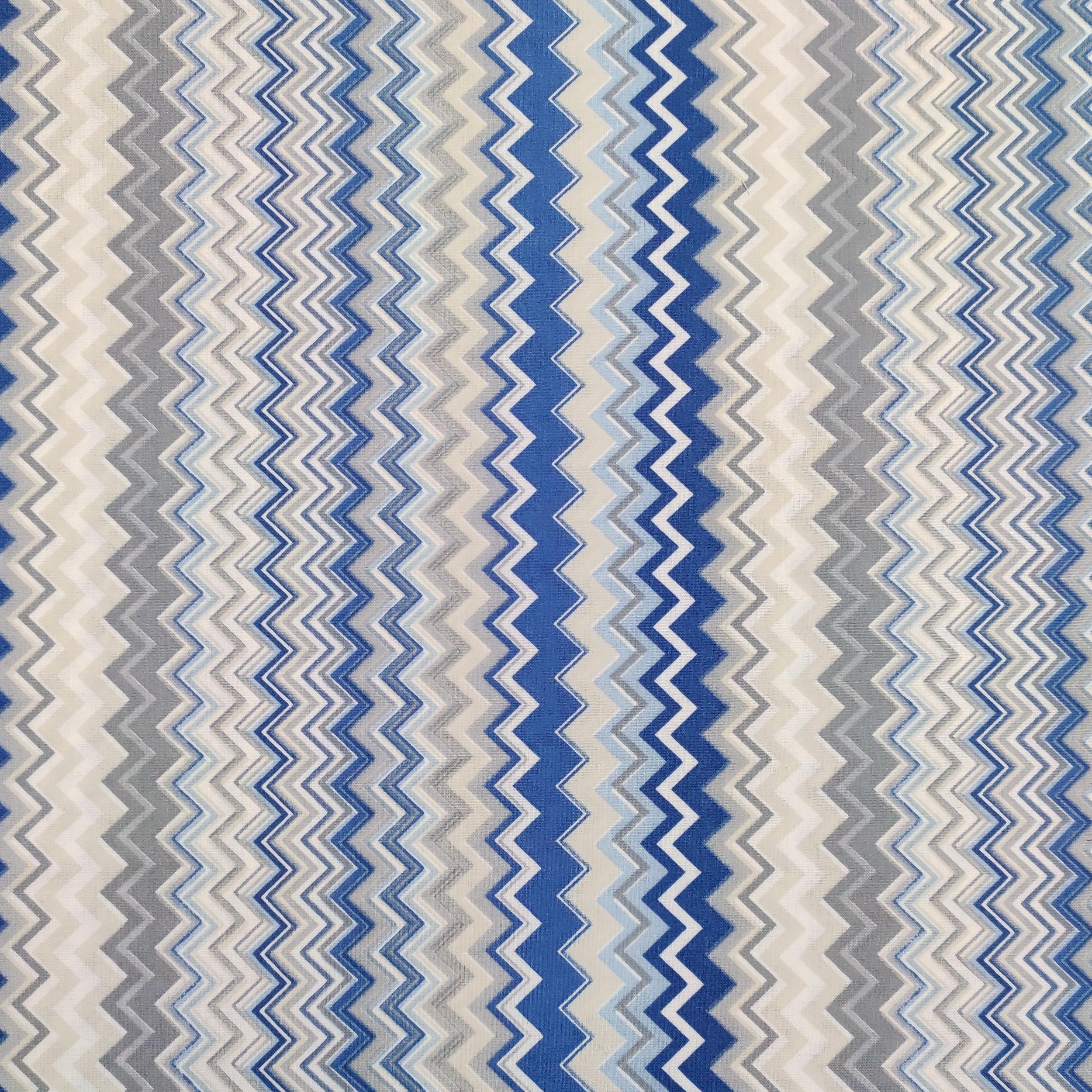 Tessuto di Cotone Zig Zag Multicolor Toni del Blu
