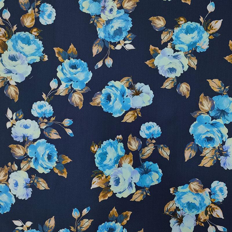 Tessuto di Cotone Rose Azzurre Sfondo Blu