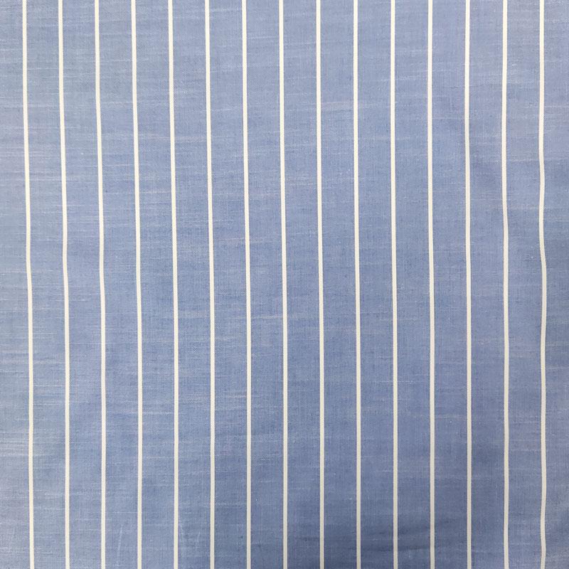 Tessuto per Camiceria Azzurro Righe Larghe Bianche