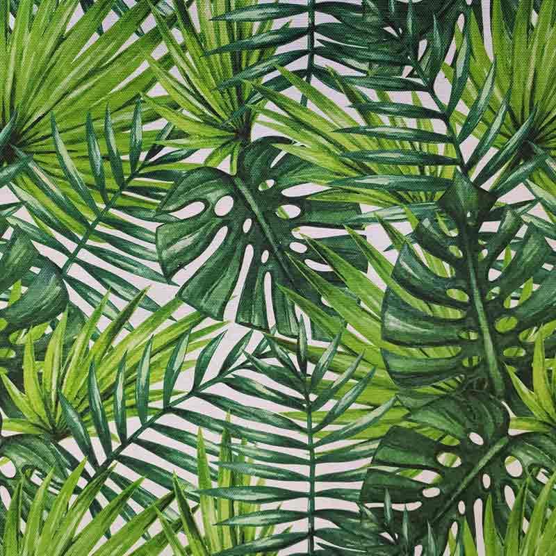 Tessuto Panama 100% Cotone Foglie Tropicali