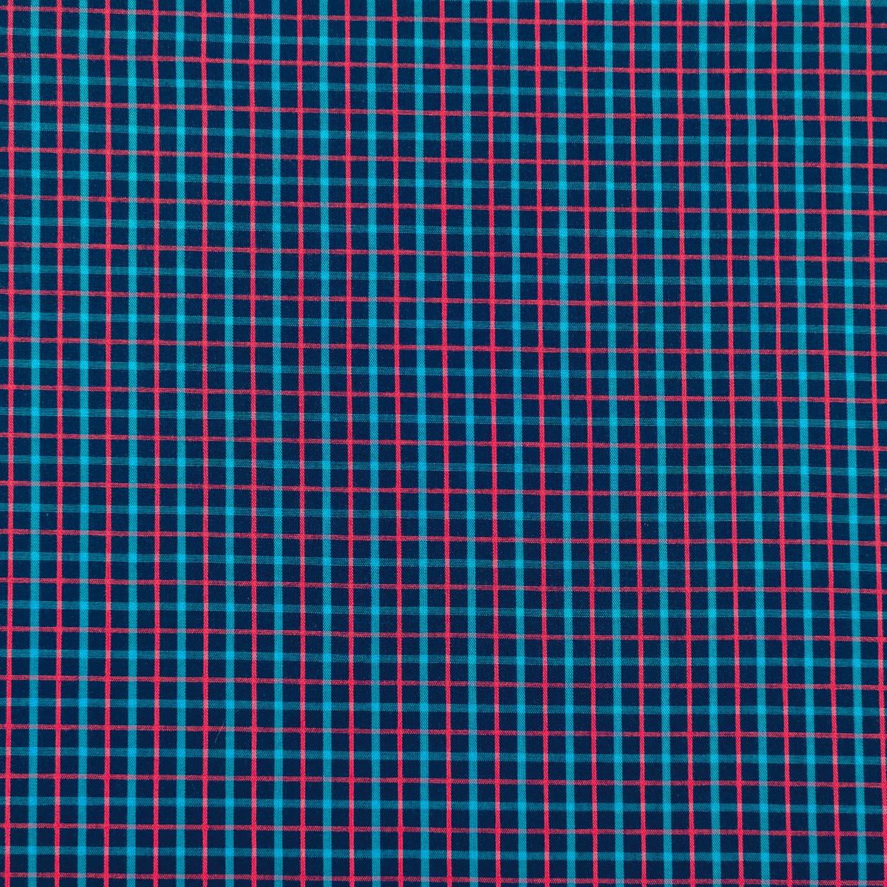 Tessuto Cotone Quadretto Blu Riga Turchese