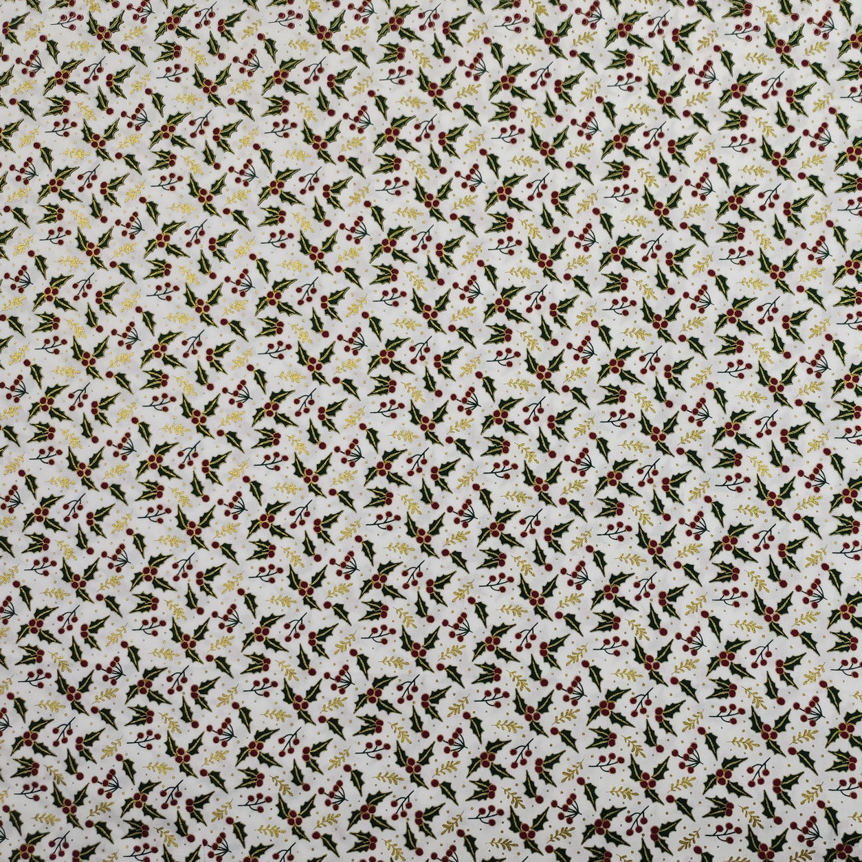 Tessuto Cotone Lurex Natalizio Agrifoglio