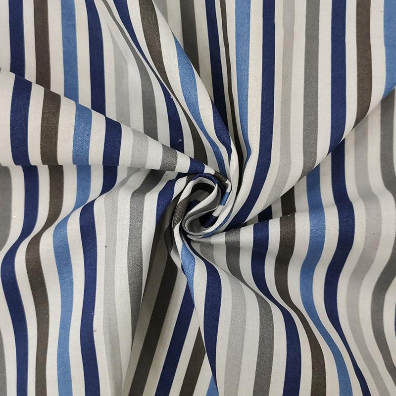 Tessuto di Cotone Righe Toni del Blu