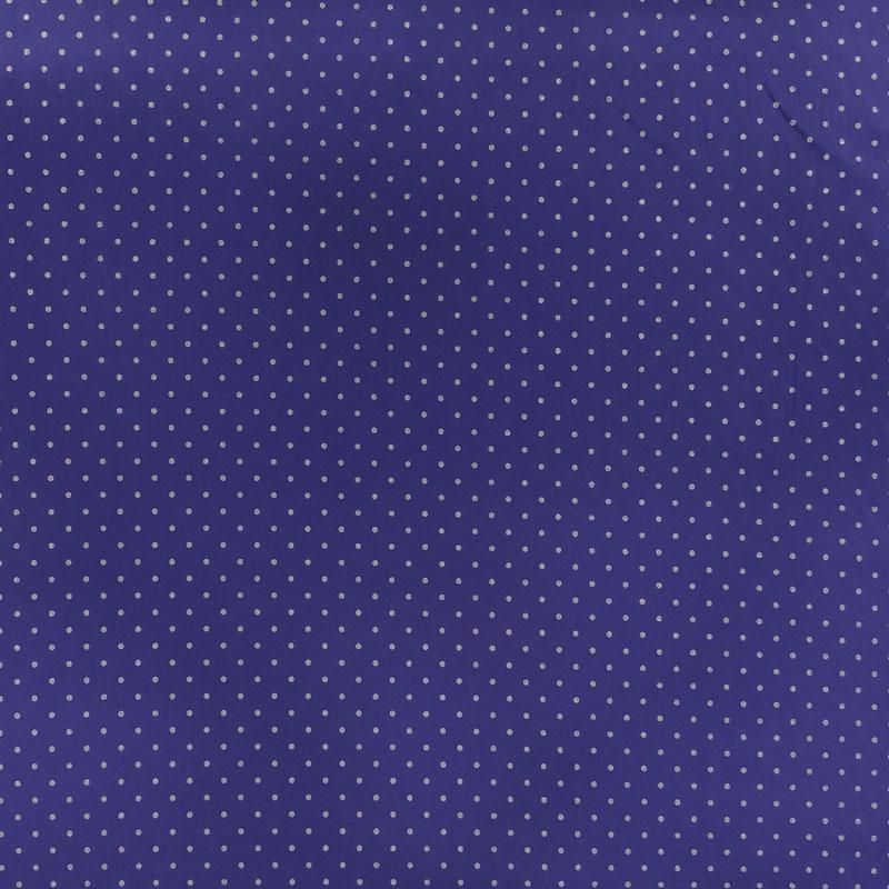 Tessuto Cotone Viola a Pois Argento