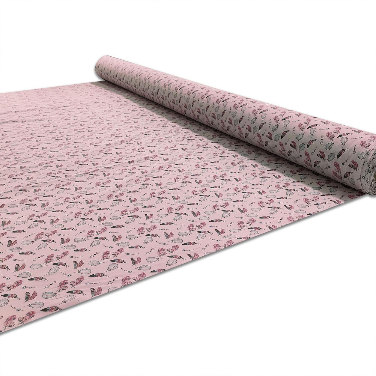 Tessuto di Cotone Piume Sfondo Rosa