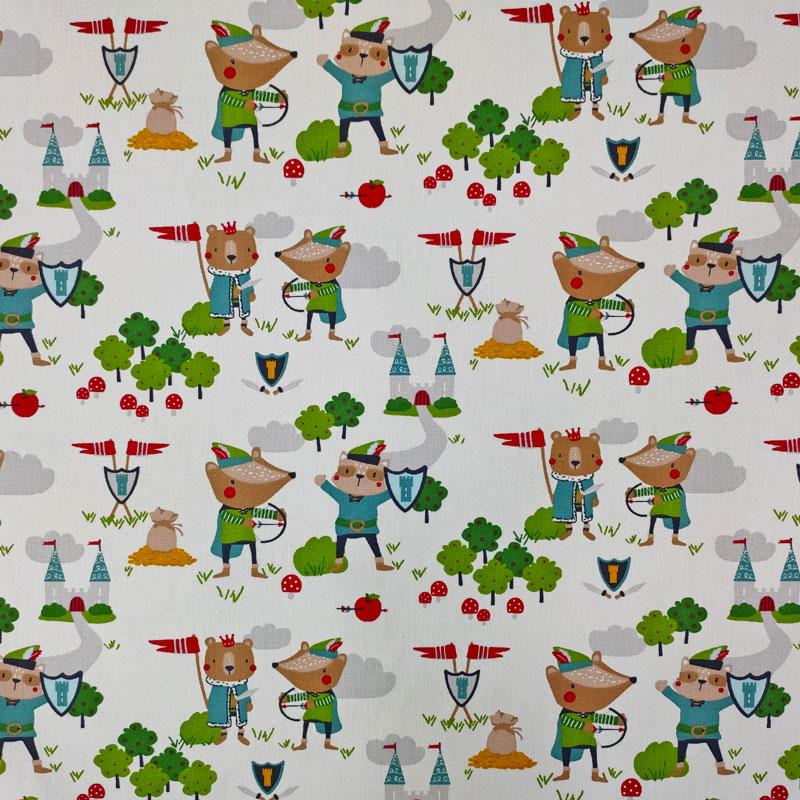 Tessuto Cotone Orsetto Robin Hood