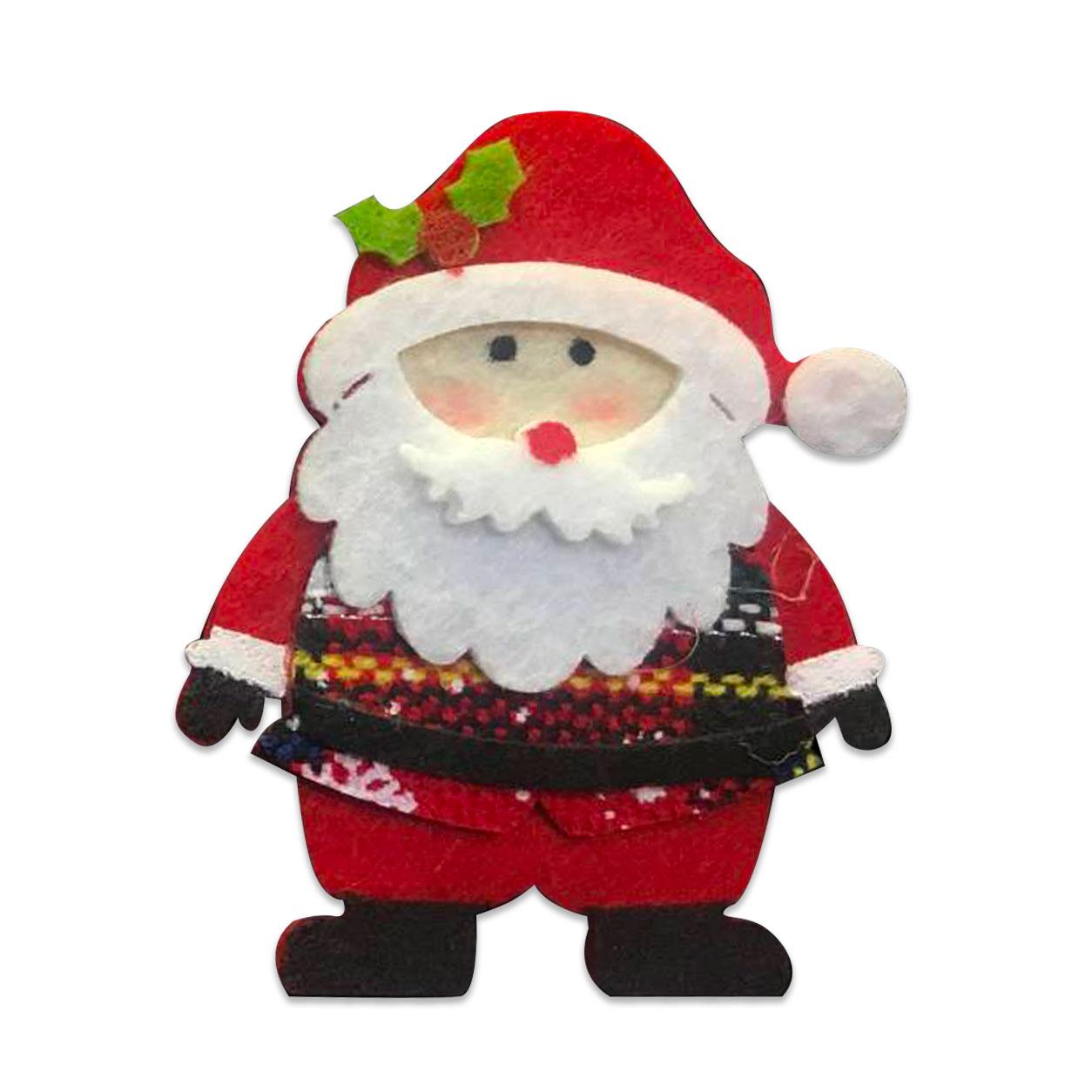 Applicazione in Feltro Babbo Natale e Agrifoglio