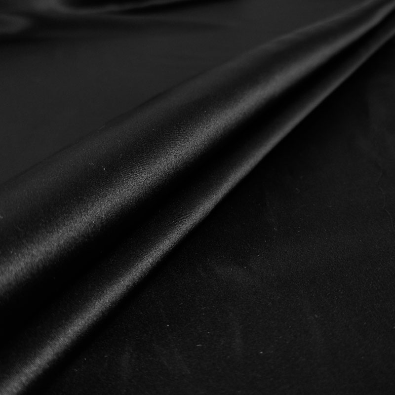 Tessuto Raso di Seta Nero Lucido