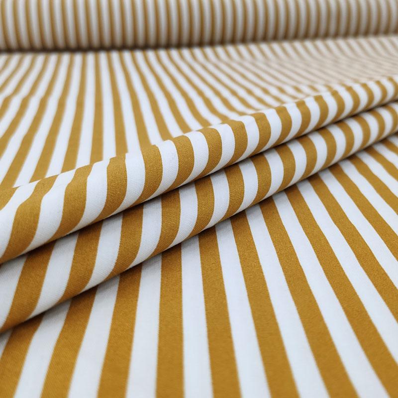 Tessuto Cotone Natural Righe Bianche e Senape