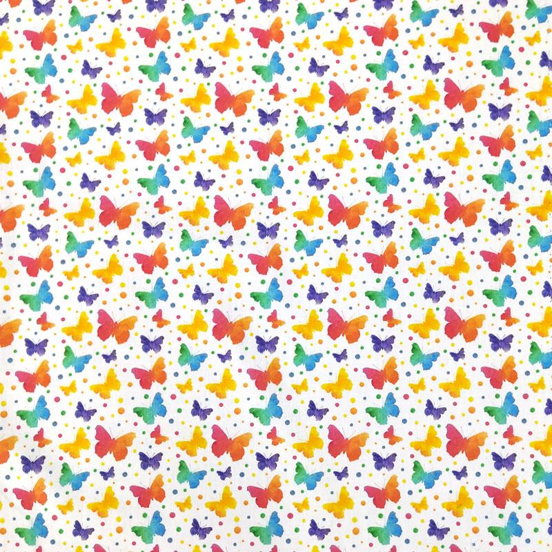Ritaglio Rasatello di Cotone Farfalle Colorate 50x140 cm