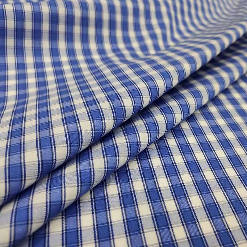 Tessuto per Camicie Quadri Blu