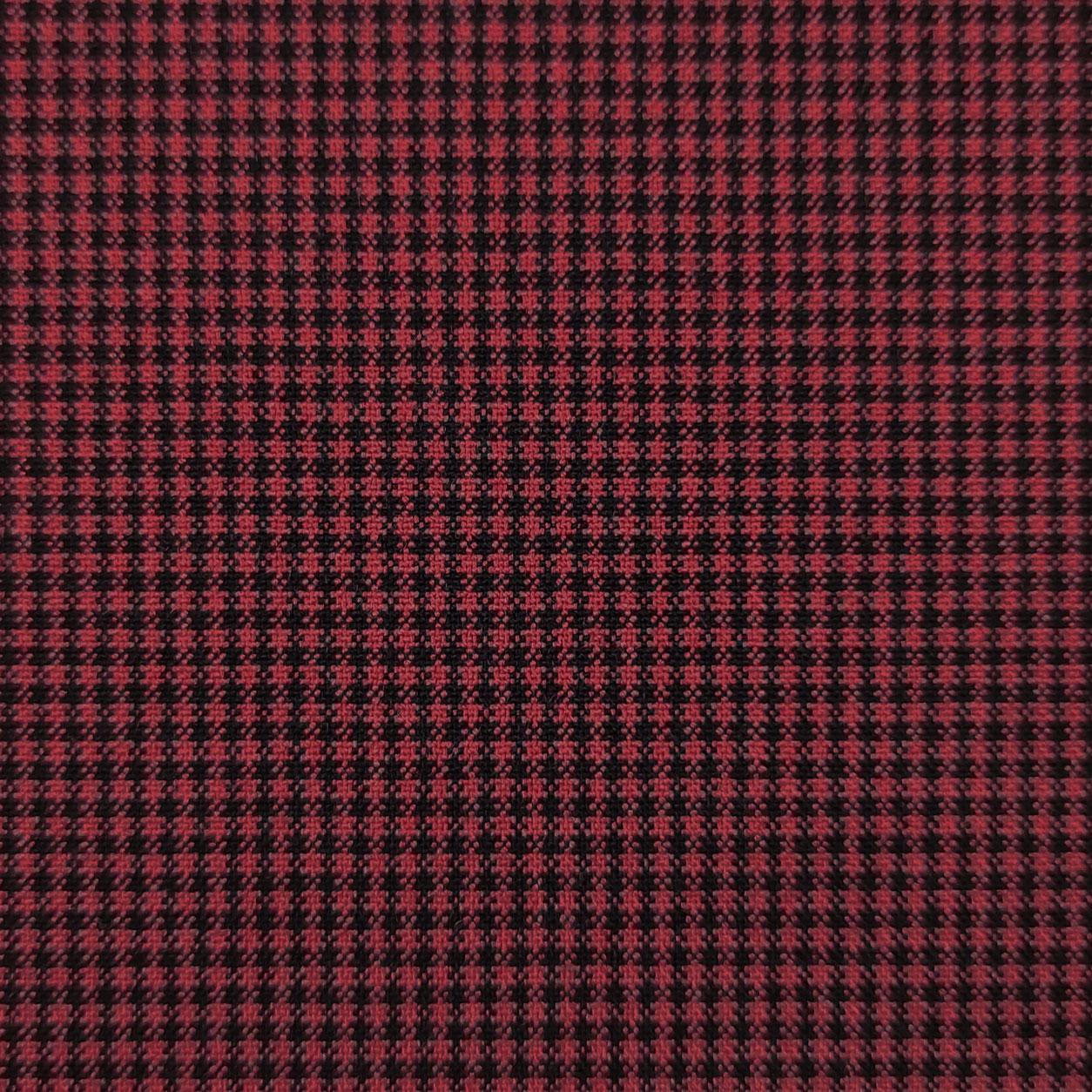 Tessuto Micro Quadretti Rosso e Neri