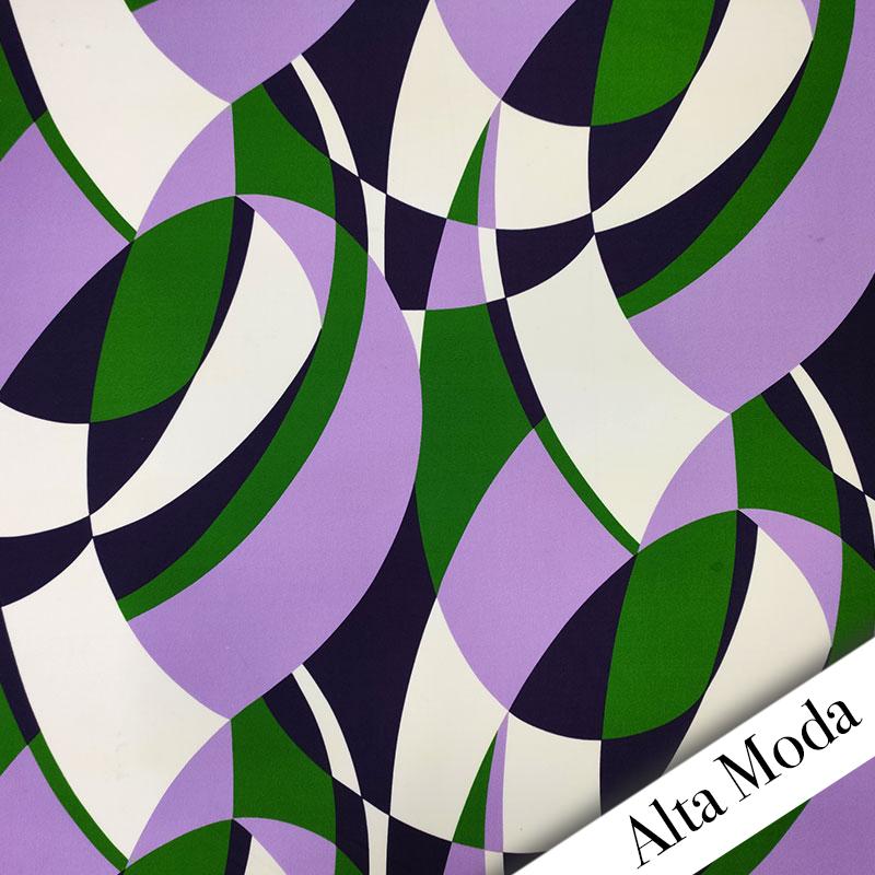 Tessuto Jersey Astratto Viola e Verde