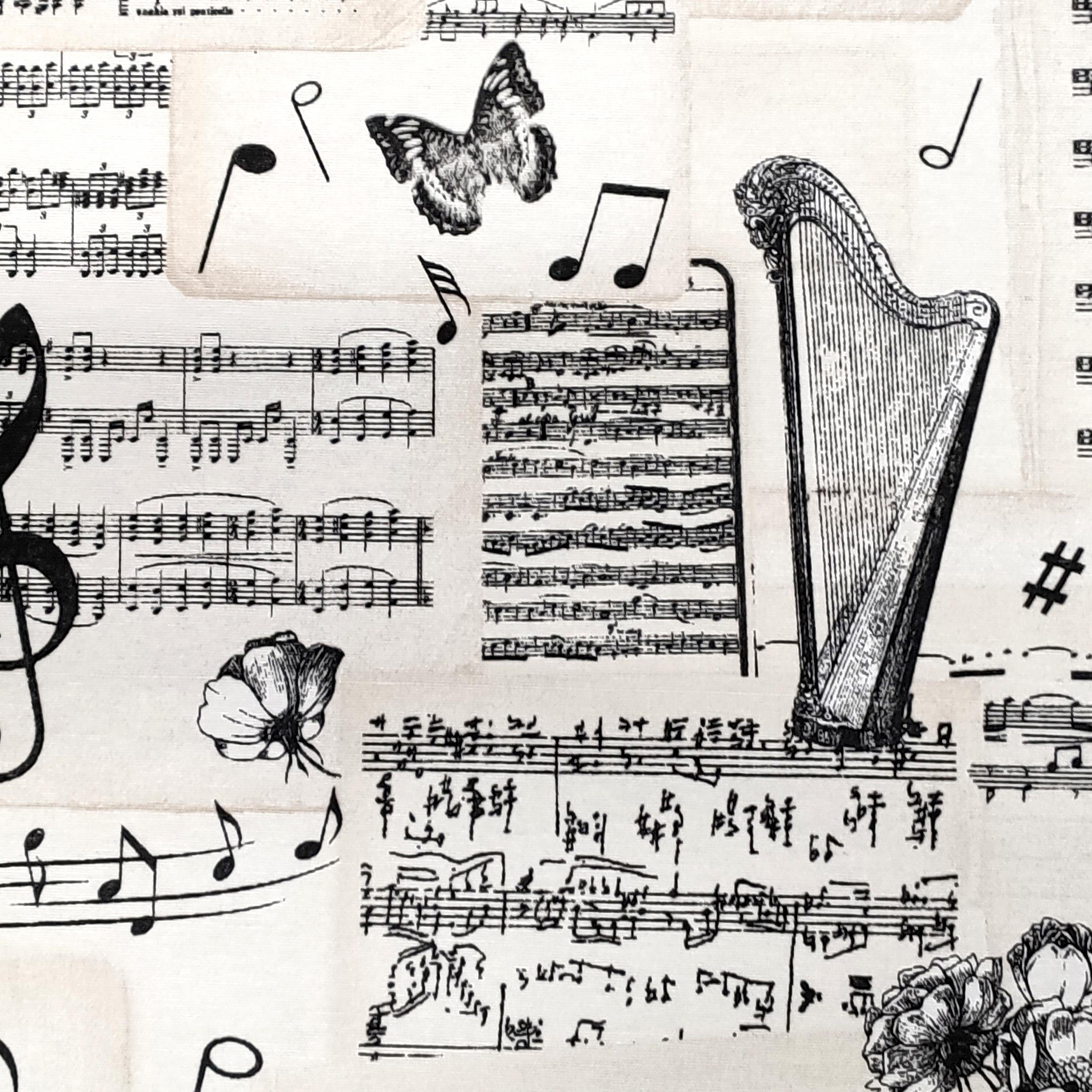 Tessuto Misto Cotone Fantasia Note Musicali e Violini