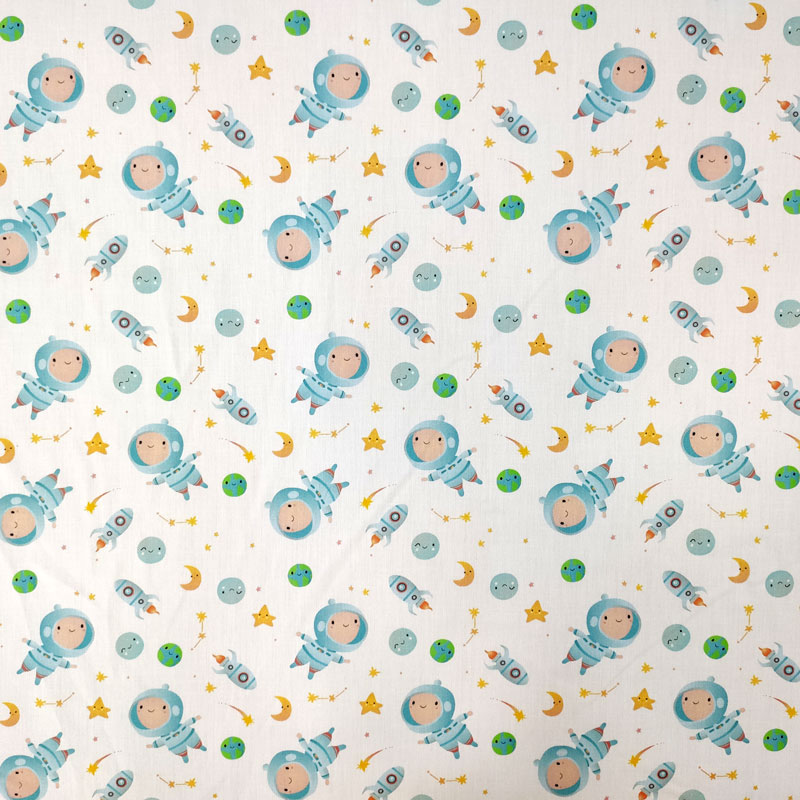 Ritaglio Rasatello di Cotone Baby Astronauti 50x140 cm