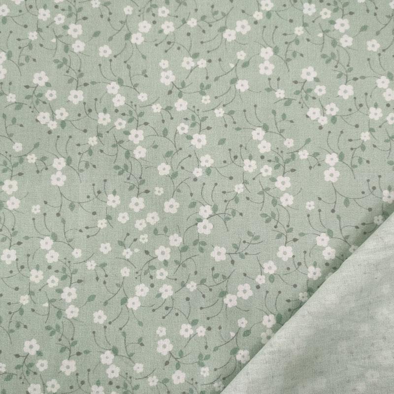 Tessuto Cotone Fantasia Fiorellini Verde