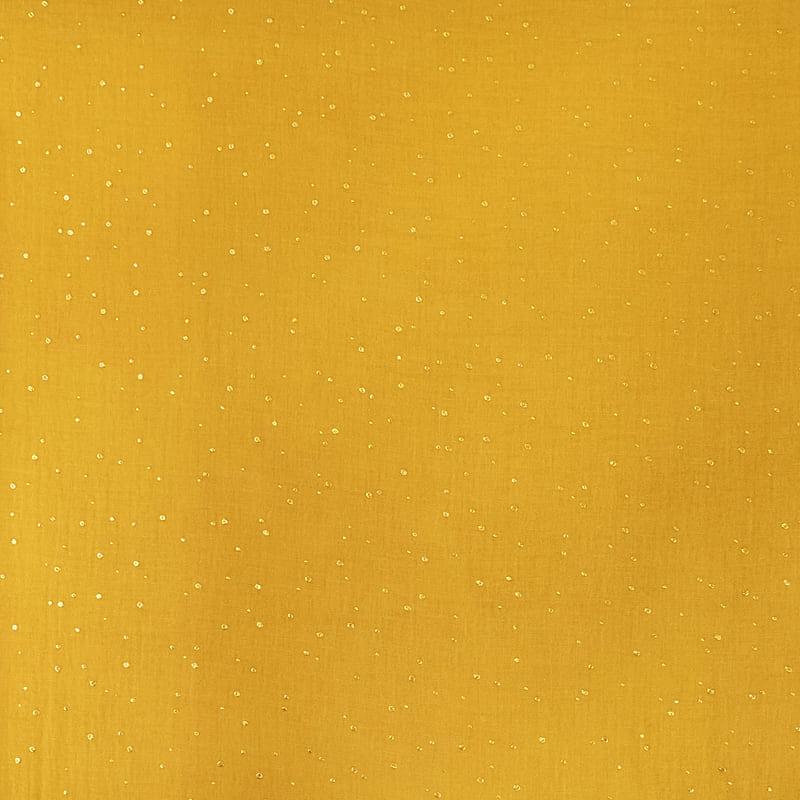 Mussola Cotone Senape con Pois Oro