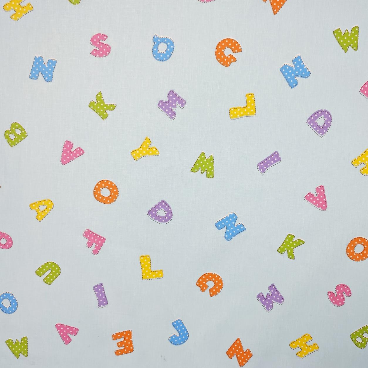 Tessuto Cotone Lettere Alfabeto Sfondo Azzurro