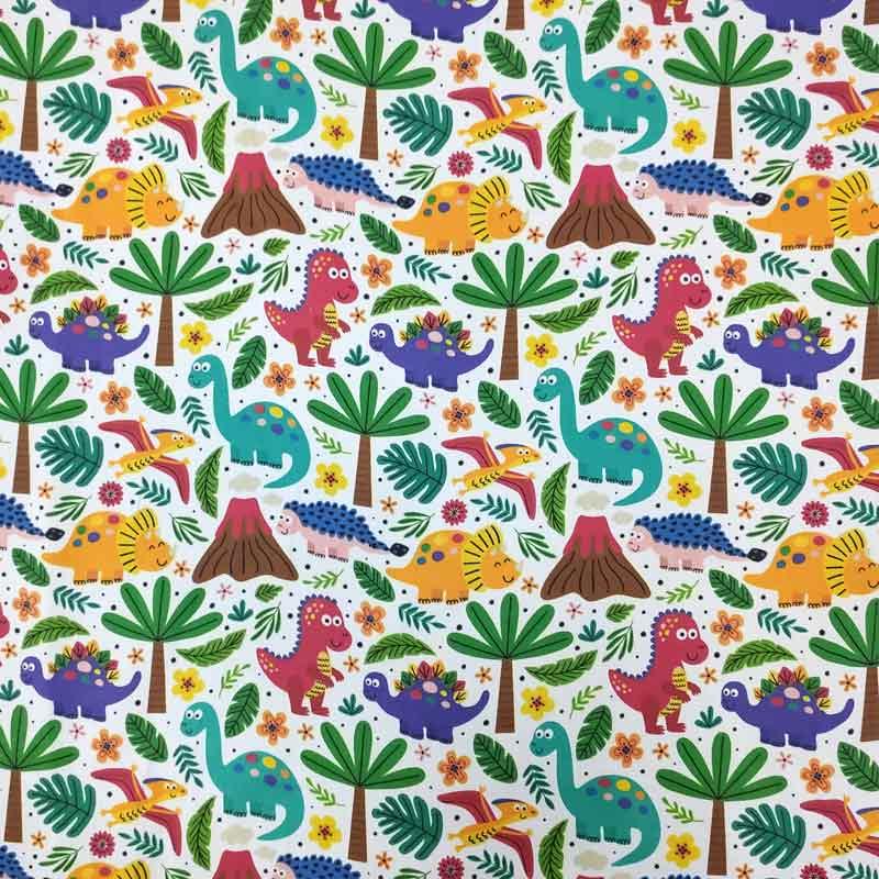 Ritaglio Rasatello di Cotone Fantasia Dinosauri 50x140 cm