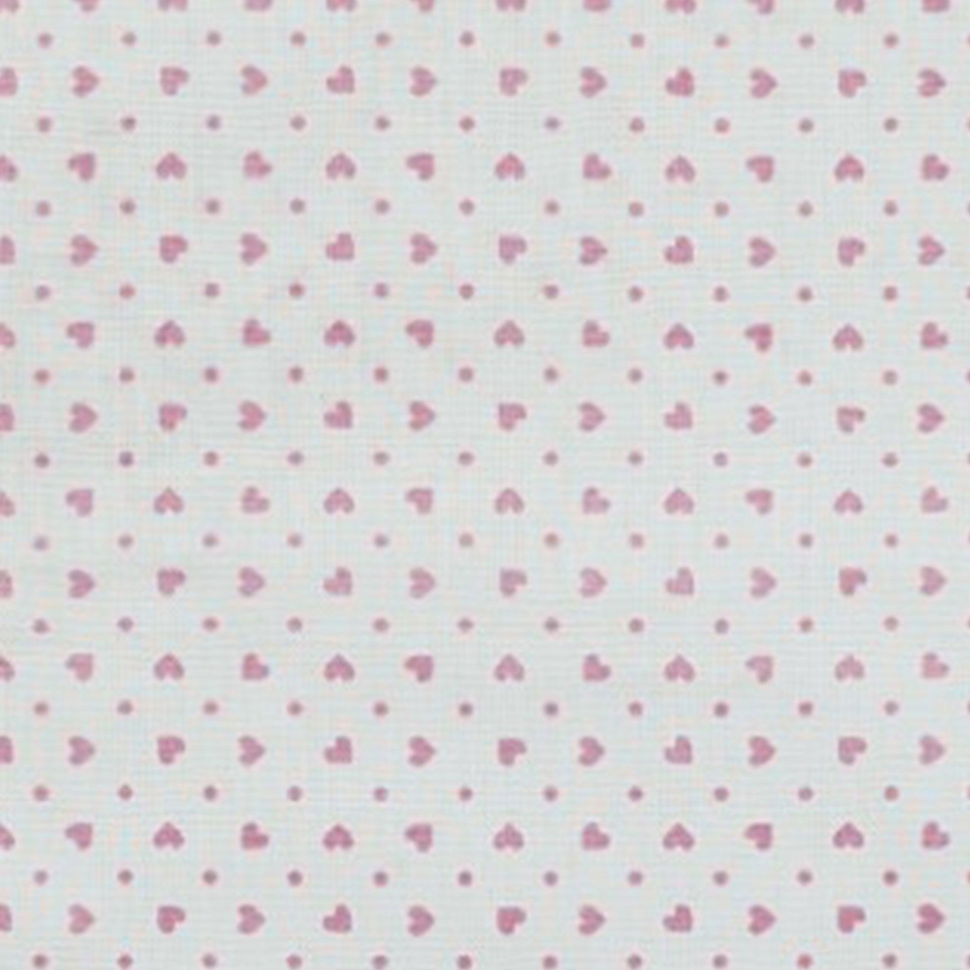 Tessuto Cotone con Cuoricini e Pois Colorati