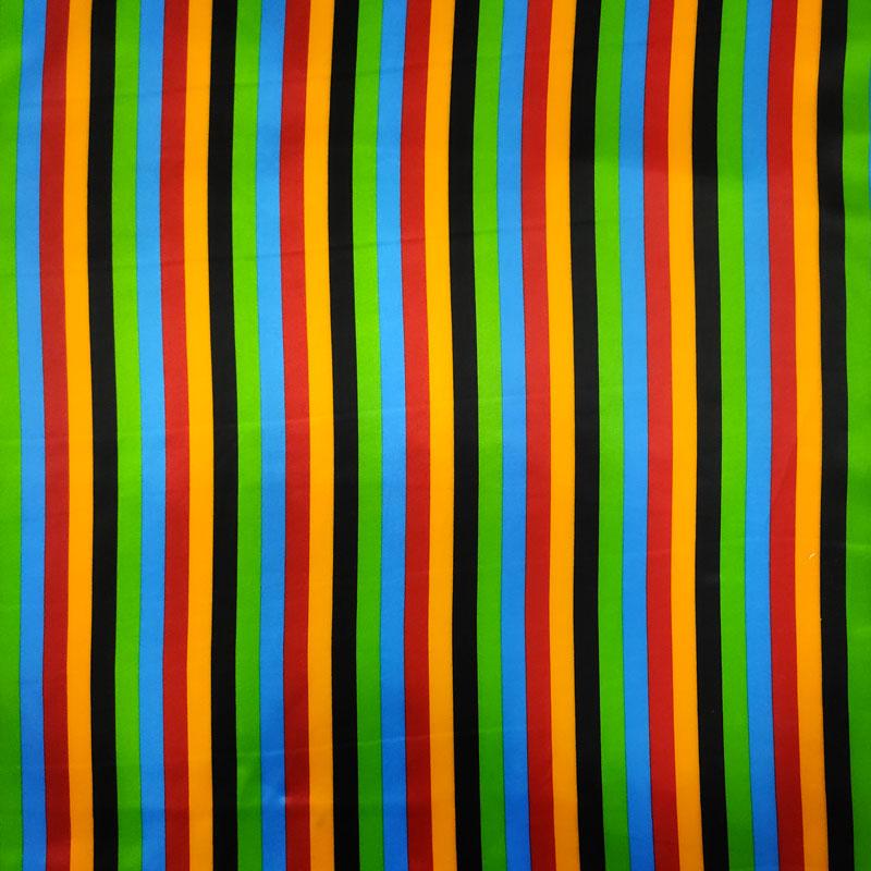 Tessuto Raso Carnevale Righe Multicolor