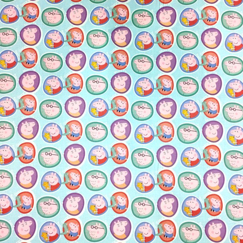 Tessuto Cotone Famiglia Peppa Pig