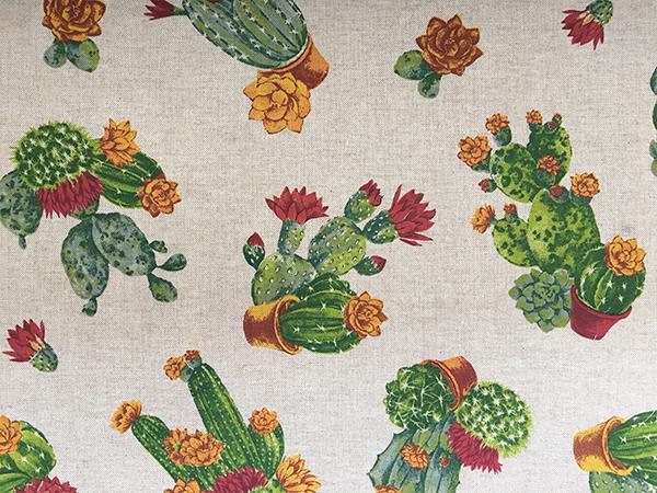 Tovaglia Resinata Fantasia Cactus in Fiore