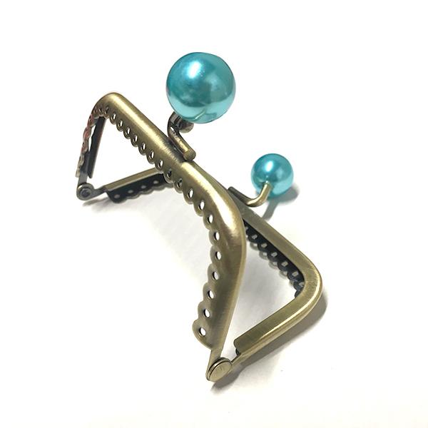 Click Clack Bronzo Rettangolare 8,5 cm con Perle