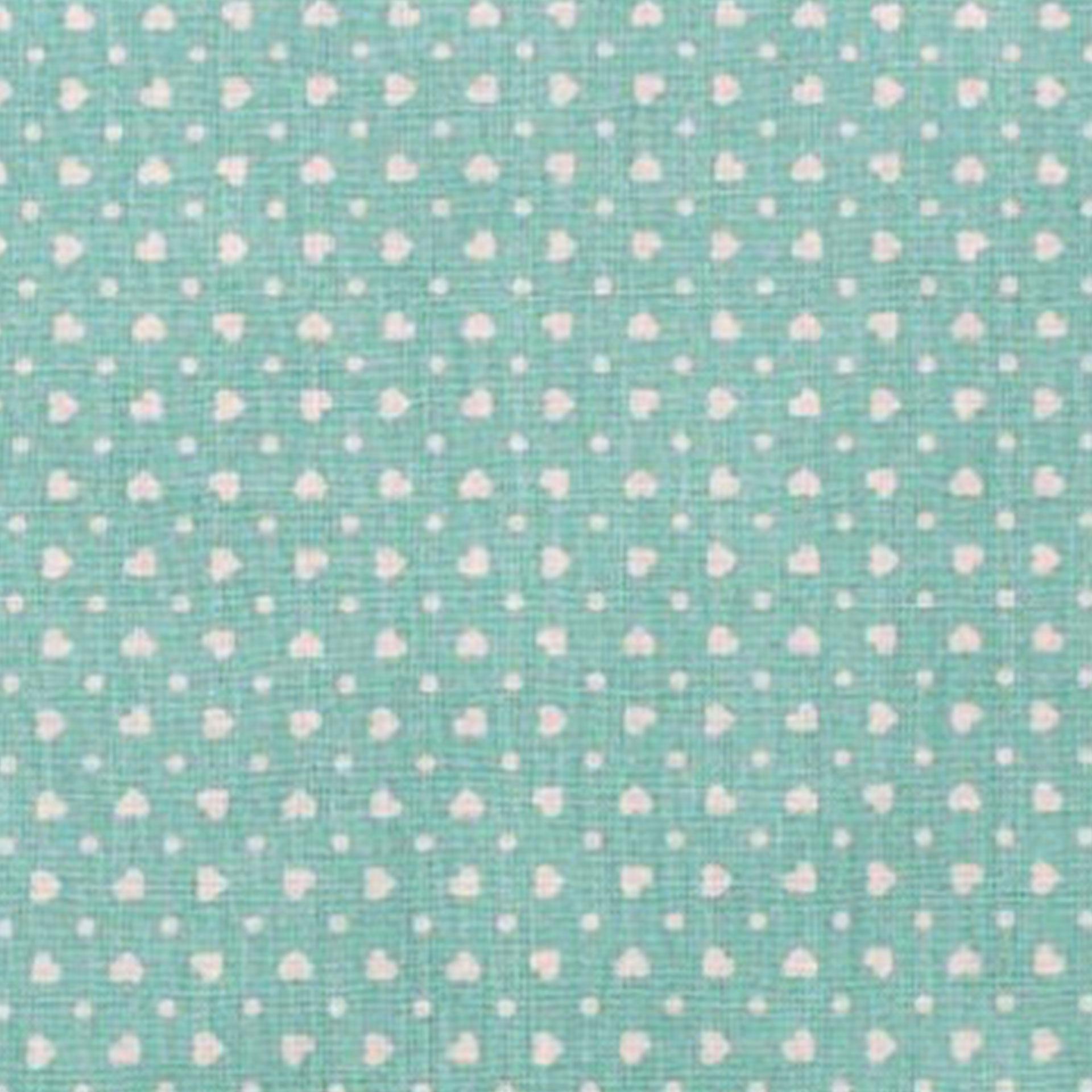 Tessuto Cotone con Cuoricini e Pois Bianchi