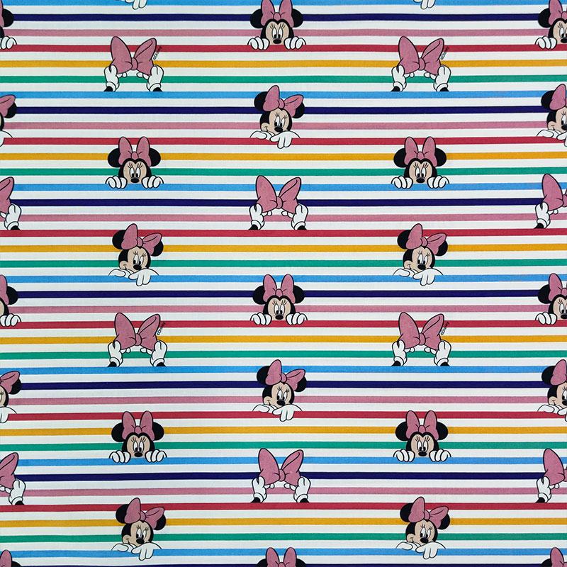 Tessuto Cotone Disney Minnie Righe Multicolor