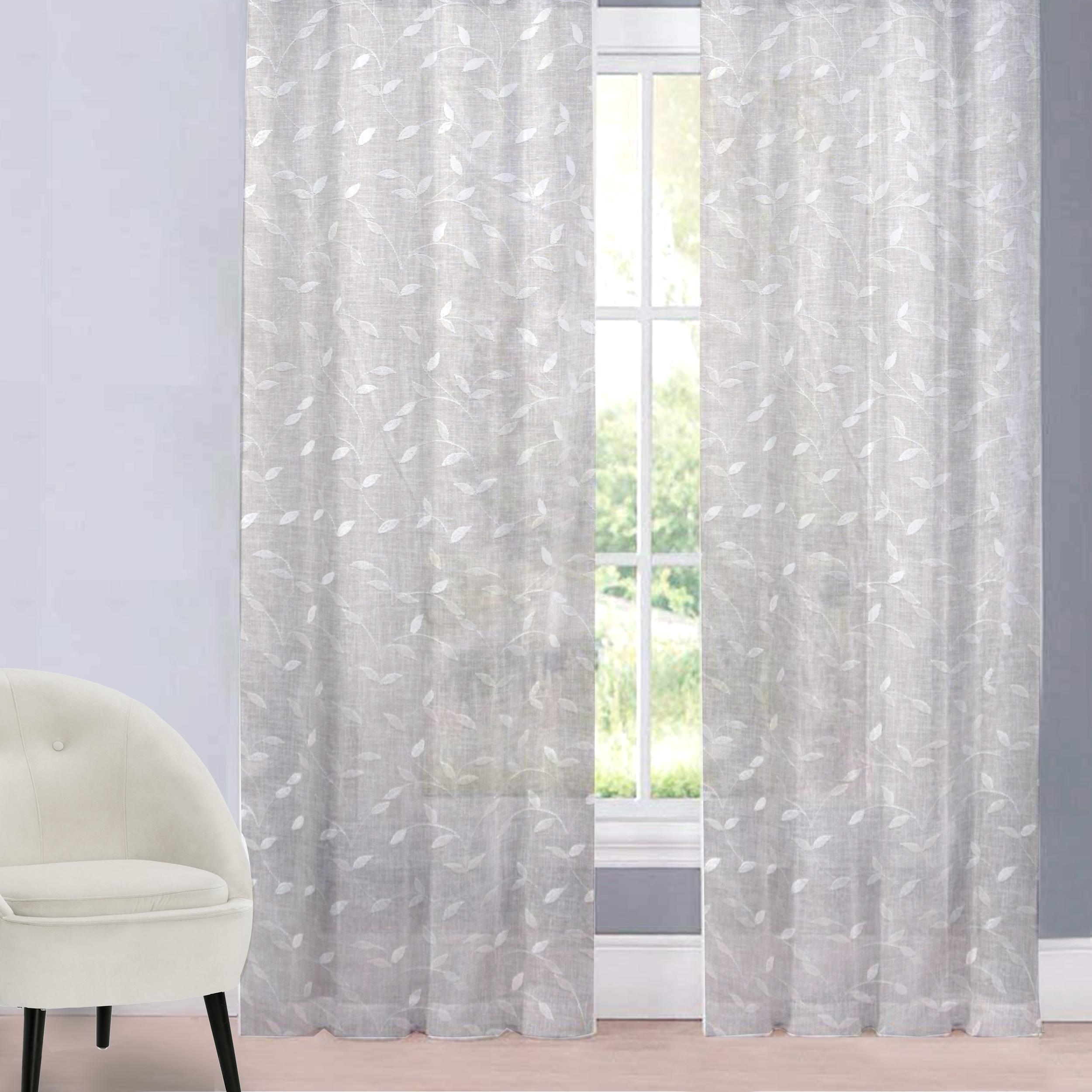 Tessuto Tenda Foglie Eleganti - Bianco