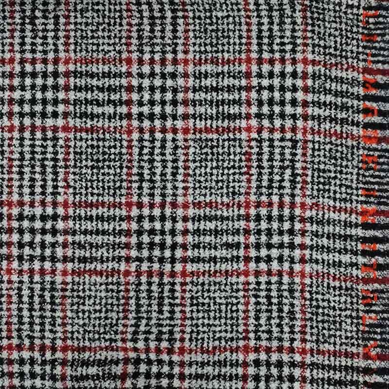 Tessuto per Cappotti Tartan Grigio e Rosso