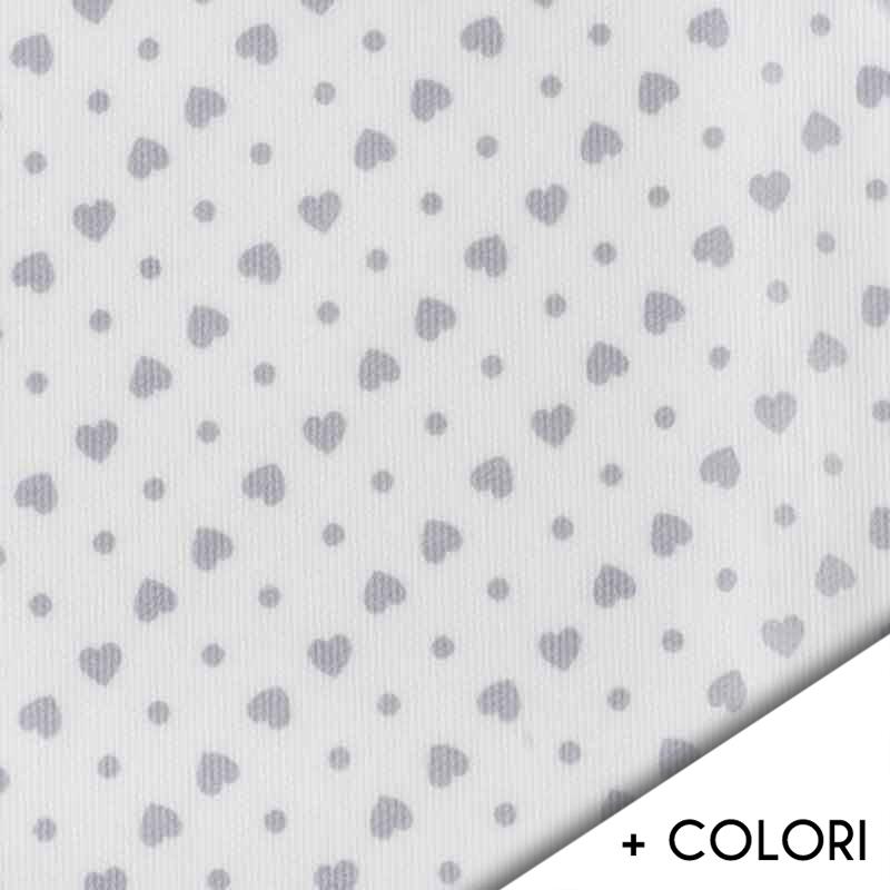Tessuto Piquet di Cotone Cuori con Pois Colorati