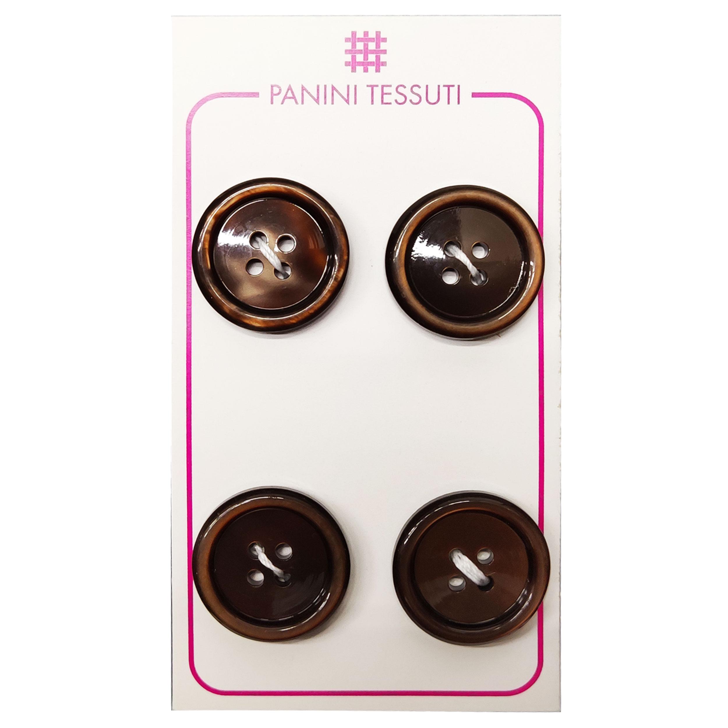 Bottoni Lucidi Colore Marrone 4 Pezzi - Lin 32