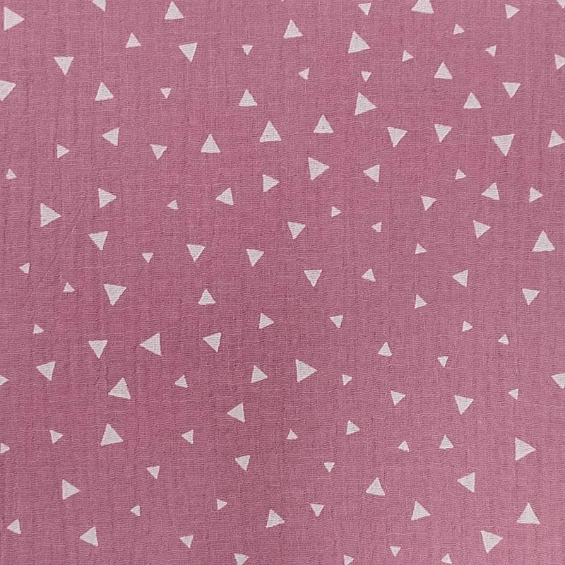 Mussola Cotone Triangoli Bianchi Sfondo Rosa