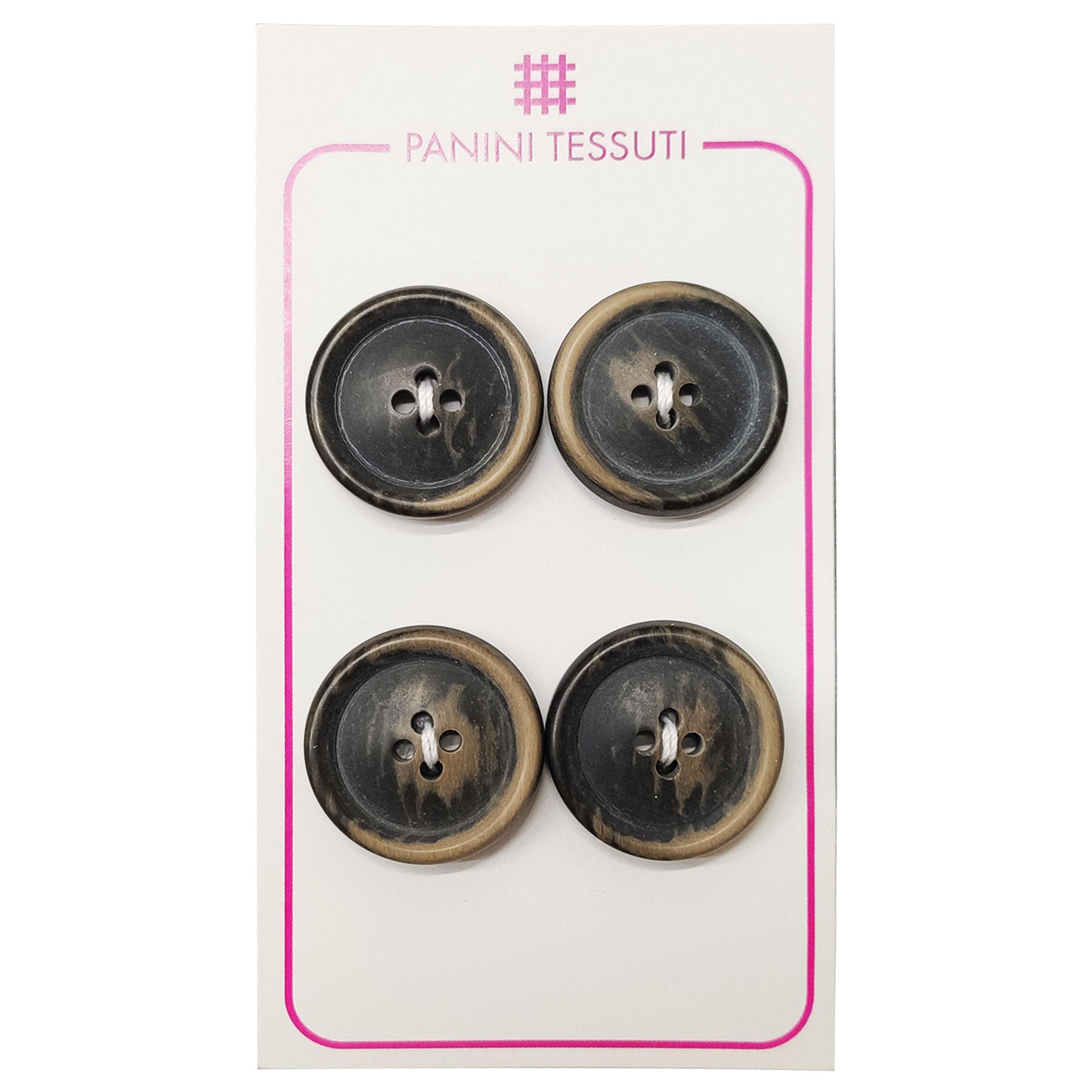 Bottoni Opachi Melange Color Marrone 4 Pezzi - Lin 32