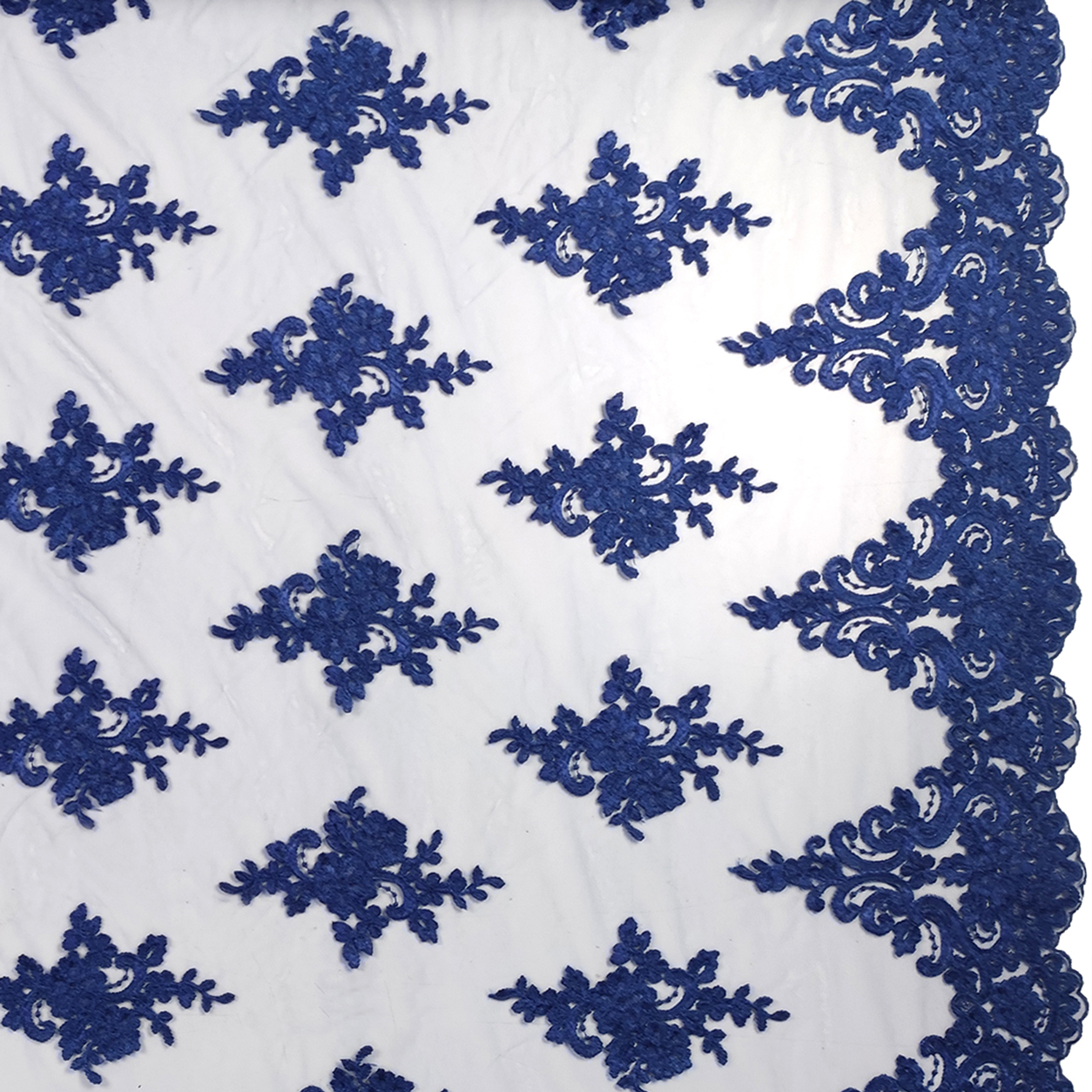 Tessuto Tulle Ricamato Doppio Smerlo Bluette