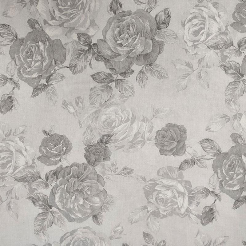 Tessuto di Cotone Fantasia Rose in Grigio