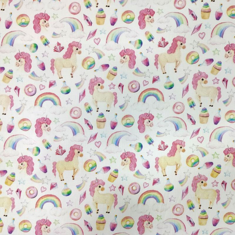 Ritaglio Rasatello Cotone Mondo degli Unicorni 50x145 cm