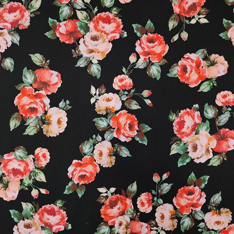 Tessuto di Cotone Rose Rosse Sfondo Nero