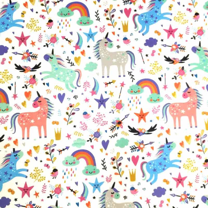 Tessuto Rasatello Cotone Unicorni Colorati