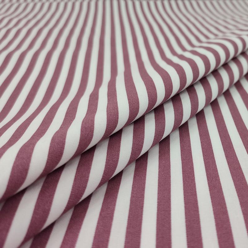 Tessuto Cotone Natural Righe Bianche e Vinaccia
