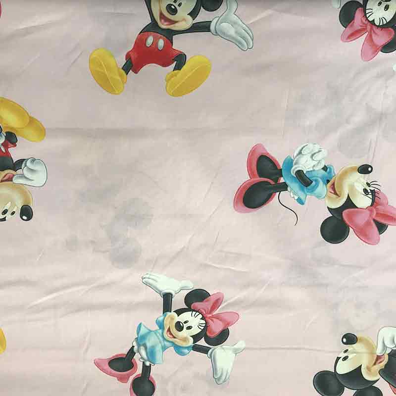 Tessuto Cotone Disney Topolino e Minnie Rosa